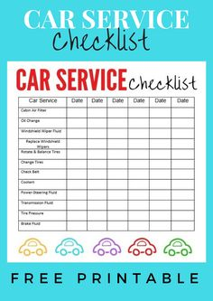 Car Service Checklist: I have finally found a way to stay organized with the maintenance of my mini-van. I made a printable car service checklist to keep in my glove box. You can print it too! Car Checklist, Checklist Template, Car Care Tips, Car Essentials, Driving Tips, New Drivers, Adolescents, Car Hacks, Oil Change