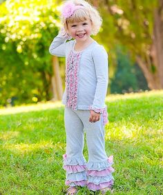 Take a look at this Gray & Pink Ruffle Tee - Infant by RuffleButts on #zulily today!