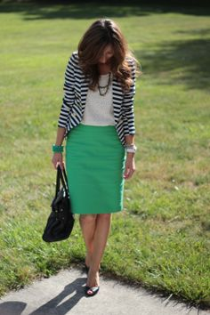 Striped blazer, green skirt - My interpretation: http://looplooks.wordpress.com/2012/10/16/green-pantsmost-unexpected/