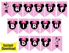Minnie Mouse Bowtique Birthday Banner $4.99
