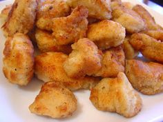 Copy Cat Chik-Fil-A Nuggets (the secret is powdered sugar in the flour dredge ----  although I have also seen a version that used complete pancake mix as the batter for homemade nuggets and that also tasted an awful lot like Chik-Fil-A)