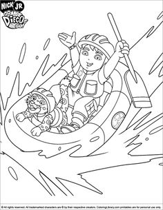 Go Diego Coloring Page Is Having Fun River Rafting Pages For BoysFree Printable