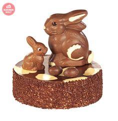 #Torte zu #Ostern mit Schokohasen und Schokoeiern, schnell gemacht; #Gateau for easter