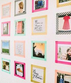 jolies cadre photos de couleurs diffiérentes pour créer un album photo personnalisé sur un mur