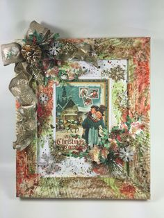 Altered frame using mixed media techniques lots of Mists and Graphic 45 A Christmas Carol Paper Collection #graphic45 #G45 #lindysstampgang #magdacortez #axesdesigns