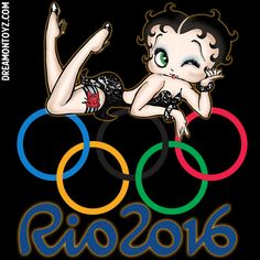 MORE Betty Boop graphics & greetings:  http://bettybooppicturesarchive.blogspot.com/  ~And on Facebook~ https://www.facebook.com/bettybooppictures  ~ Winking #BettyBoop Rio 2016 Olympics