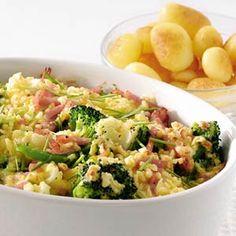 Recept - Bloemkool-broccolischotel met ham en kaas - Allerhande