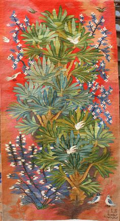 "Garden Plants by Reda Admed, Wool Tapestry, 2011,  0.86m x 1.65m (34"" x 65"")  $3,900"