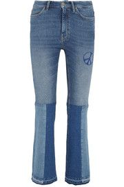 Angie patchwork embroidered mid-rise flared jeans