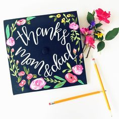 I can't believe it's been exactly one year since iv graduated college! Still trying to figure out what I want to do when I grow up. | Custom painted graduation cap I just finished for a girl who is graduating with her masters  Yay!!! #handpainted #handlettering #moderncalligraphy #flowers #gradcap #creativelifehappylife