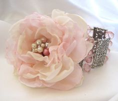 Fabric Flower: Pink and Ivory Romantic Rose Wrist Corsage OOAK Cuff Bracelet Bride, Bridesmaid, Mother of the Bride with Pearl Accents. $28.00, via Etsy.