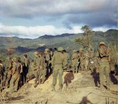 Troops of A Co. 1/12, Highest air assault in the Vietnam War, Dak To in August 1967.