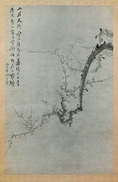 Plum Branch (Yi Yuwon, Korean, 1814-1888) The calligraphic and impressionistic style of this painting renders the subject both representational and abstract. The plum flower was originally associated with spring; bamboo, chrysanthemum, and orchid represented summer, autumn, and winter, respectively. By the nineteenth century, this quartet of plants became firmly established as the Four Gentlemen.