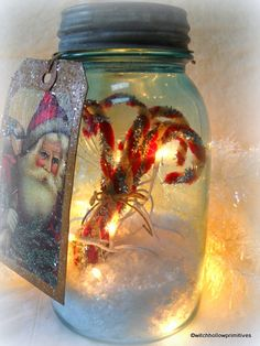 Primitive Christmas lighted blue mason jar by WitchHollowPrims