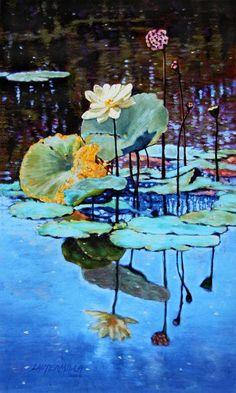 Lotus Flower Painting - Summer Calm by John Lautermilch Water Lilies Painting, Lotus Painting, Lily Painting, Lotus Kunst, Lotus Art, Abstract Flowers, Watercolor Flowers, Watercolor Paintings, Art Floral