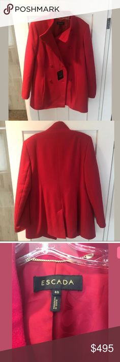 🆕 Escada Ruby Red Pea Coat Size 40 New with tags. Beautiful coat, ruby red color, pea coat style.   Escada size 40 is a size 10 in US standards.   Selling for way below retail value. Happy to provide more information or pictures.   Top of the collar to bottom of hem is 33.5 inches Bust is 39 inches Waist is 40 inches Straight cut Escada Jackets & Coats Pea Coats