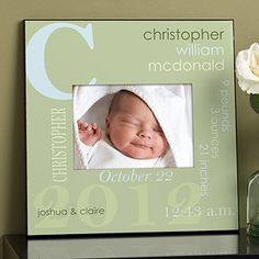 This baby frame is adorable! You can personalize it with the baby's name, birth date, weight, length, birth time and the parents' names in a pretty collage! It even comes in different colors so it can match the colors in the nursery!