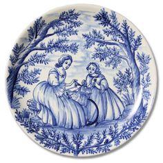 7112 Portuguese Plate Tiles Spanish Antique Majolica Designs XVII XVIII Blue Figurative