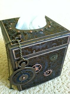 A tissue box covered with the Bronze Shimmer Sheetz.