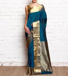 Peacock Blue #Kanjivaram #SilkSaree With Zari Work #Indianroots #flipkart