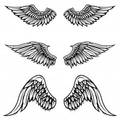 Black And White Birds, Black And White Logos, Black And White Drawing, Black And White Abstract, Griffin Tattoo, Angel Wings Art, Back Of Neck Tattoo, Wing Tattoo Designs, Wings Drawing