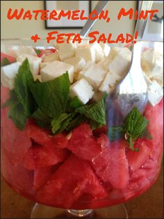 Watermelon, Feta and Mint Salad! Great for a summer potluck, baby shower or wedding shower. Watermelon Mint Feta Salad, Mint Salad, Wedding Reception Food, Reception Ideas, Christmas Food Treats, How To Eat Better, Breakfast Buffet, Summer Recipes, Cooking Recipes