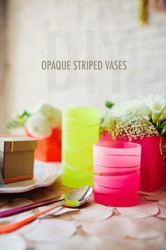 DIY Opaque striped vases
