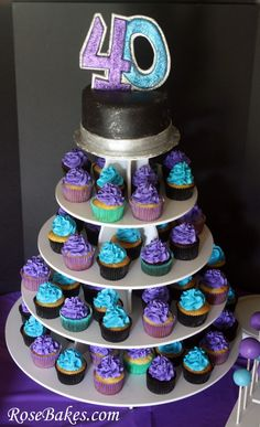 Man's 40th Birthday Cake & Cupcakes Tower by @RoseBakes.com.  Click to see more pics and ideas!