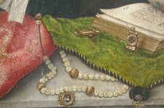 Pearls and gold gauds with a cameo, strung with considerable slack on a black looking cord. Brugse Meester van 1499 - The Holy Family with an Angel Renaissance Jewelry, Medieval Jewelry, Medieval Clothing, Wiccan Jewelry, Medieval Market, Medieval Books, Rosary Beads, Prayer Beads, Historical Women