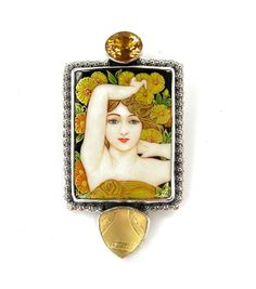 Russian Hand Painted Miniture Yellow Floral Lady Pin - Pendant by Amy Kahn Russell
