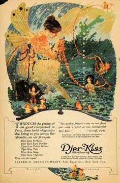 Djer-Kiss advertisement Perfume Ad, Vintage Perfume, Vintage Advertisements, Vintage Ads, Vintage Books, Fairy Land, Fairy Tales, Fairy Dust, Propaganda Art