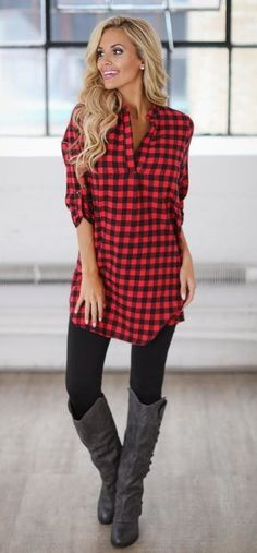 #fall #outfits red and black checkered long sleeve top