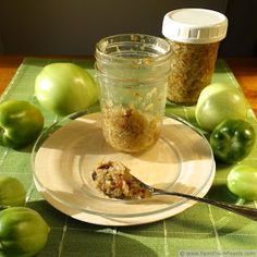 image of green tomato bacon jam and green tomatoes