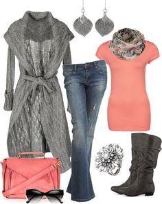 Fall Outfits Silver GAUDI Cardigan and Coral Basic Shirt
