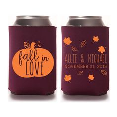 Rustic Fall Wedding Favors - Personalized Fall in Love Wedding Koozies DIY Favors for Guests Destination Wedding Ideas Stubby Holders Mountain Wedding Beer Cozies by yourethatgirldesigns on Etsy Creative Wedding Favors, Rustic Wedding Favors, Fall Wedding Decorations, Beach Wedding Favors, Wedding Favors For Guests, Rustic Weddings, Wedding Reception, Wedding Themes, Wedding Venues