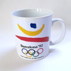 Olympics Barcelona 1992 Coffee Mug Sport Olympic Rings Olympiad Games Cup