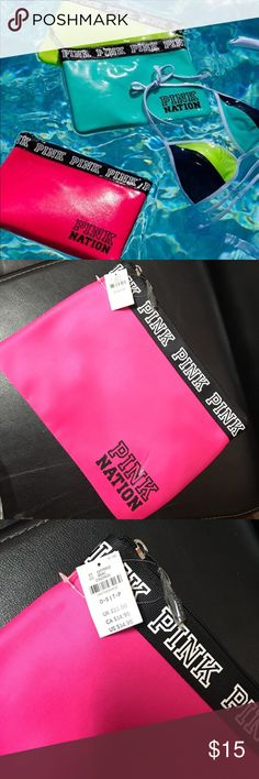 """Victoria's Secret PINK bikini pouch Prefect to take to the beach or pool. Limited Edition 8""""H x 11""""L Top zipper  Two back pockets Brand new with tag PINK Victoria's Secret Bags"""