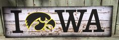 Iowa Hawkeye Sign with Herky  - Christmas, Birthday, Father's Day, Mother's Day, Housewarming, College, Man Cave Decor