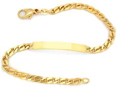 Foto 2, Neu!! Identitäts-Armband Gelbgold 14K/585 massiv!! Shop, K2813