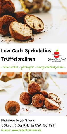 Low Carb Spekulatius-Trüffel - Pralinen - Choose Your Level™ Low carb christmas cookies - speculoos Healthy Cookie Recipes, Healthy Cookies, Paleo Dessert, Healthy Christmas Cookies, Law Carb, Deliciously Ella, Raspberry Recipes, Quick Easy Desserts, Low Carb Sweets