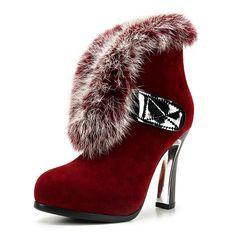 Hook&Loop nubuck leather shoes women fur winter warm office ladies shoes plating hoof heels leisure fashion ankle boots dxj1629