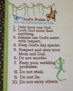 children's 10 commandments I want to make something like this for each of my kids room