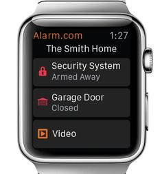One of the new apps of the Apple Smart Watch is Alarm.com's home security system's control.