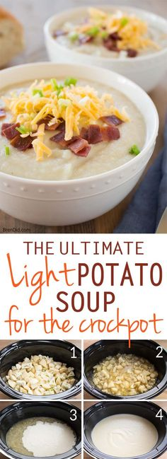 Healthy crock pot recipe. Light potato soup is an easy & delicious dinner choice. Classic baked potato soup flavor, full of (secret) vegetables. Loaded baked potato soup was never so good!