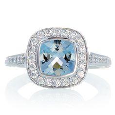 White Gold Cushion Cut Diamond Halo Bezel Set Aquamarine Hand Carved Leaf Vine Design Engagement Wedding Anniversary Ring