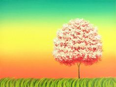 Contemporary Pink Tree Art Print of Original Oil by BingArt