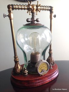 handmade one of a kind steampunk lamp made by LaBoutiqueVapeur