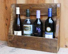 Rustic wine rack/ 4 bottle holder with shelf by NewPurposeDesign