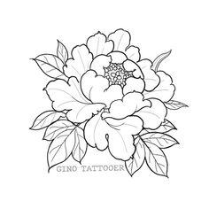 #peony #tattoo #flash #linedrawing Time Tattoos, Ship Tattoos, Gun Tattoos, Ankle Tattoos, Arrow Tattoos, Word Tattoos, Peony Illustration, Floral Illustrations, Floral Drawing