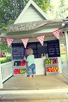 """These are amazing! I especially like the little """"market"""" and the beehive. I also love the curtain around the repurposed shed...great for putting on outdoor shakespeare-in-the-yard :)"""